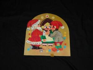 Vtg 1960s Gemo Denmark Christmas Advent Calendar Kissing Santa Elves Pull Tab