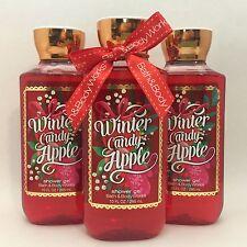 3 Bath & Body Works Winter Candy Apple Shower Gel Wash 10 oz Holiday Traditions