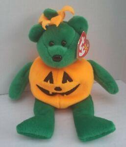 NWT TY Beanie Baby Retired TRICKY Pumpkin Halloween Bear 2003 MWMT