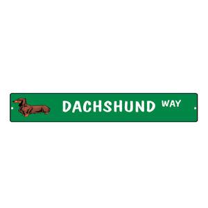 Green Aluminum Weatherproof Road Street Signs Dachshund Dog Way Home Decor Wall