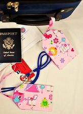 """hand crafted fabric luggage tags set of 2 secure info 3.5"""" X 5.5"""" pink princess"""