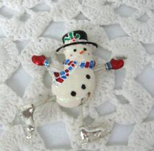 Arms & Legs Tremble Signed Danecraft Skating Snowman Vintage Brooch Enamel Metal
