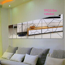 New 7Pcs Moire Pattern Mirror Removable Decal Art Mural Wall Sticker Home Decor