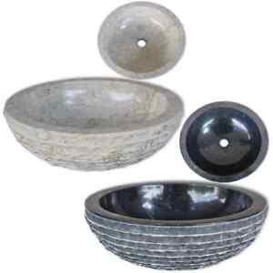 Lavabo en marbre Noir/Crème Vasque à poser Lave-main Meuble pour salle de bain