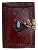 Third Eye Triple Moon Turquoise Stone Celtic Parchment Hand Bound Unique Travel