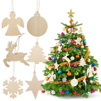Pack of 60pcs Traditional Wooden Blank Christmas Tree Hanging Decorations