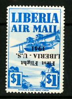 Liberia Stamps # C26 XF OG LH Inverted Signed