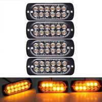 4x Amber 12 LED 36W 12V Strobe Work Grill Light Bar Hazard Beacon Flash Warning
