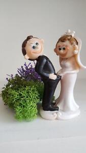 Cute Funny Humorous Bride Groom Couple Figurine Wedding Cake Topper Keepsake