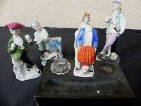 lot de figurine en porcelaine et encrier bois verre porcelaine