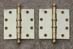 "2 avail Pair 4.5""x4.5"" Antique Vintage Old Brass Steel Exterior Door Ball Hinges"