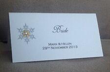 10 x Handmade Personalised Snowflake Winter Wedding Christmas Name Place Cards