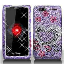 For Motorola DROID RAZR MAXX Crystal Diamond BLING Case Phone Cover Purple Love