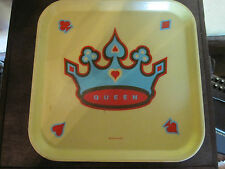 Retro style crown logo plastic tray red turquoise