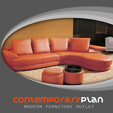 Contemporary Orange Leather Sectional Sofa Set with Ottoman Curved Modern Design