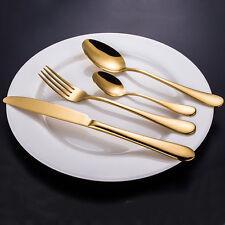 4 Pcs Gold Cutlery Golden Steel Dinnerware Fork Spoons Knife Flatware Tableware