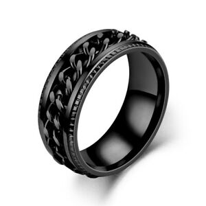 Fashion Spinner Chain Men's Rotatable Stainless Steel Rings Jewelry Size 7-13