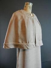 Vintage 60s Grace Taylor Original Slubbed Linen Dress & Cape Set S