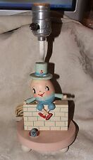 Vintage Cute 1950s Humpty Dumpty Table Lamp Young Designs NYC Hand Painted Wood