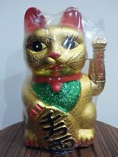 "9"" Chinese Good Luck Gold Waving Hand Paw Up Fortune Kitty Cat ( Ceramic )"