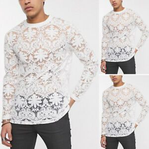 Mens Long Sleeve Sheer Mesh Lace T Shirts See Through Muscle Party Club Tee Tops