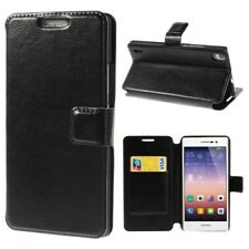 Huawei Ascend P7 Handy Tasche Wallet Case Crazy Horse Texture Stand Etui schwarz