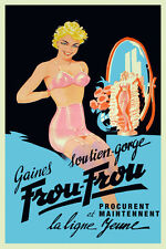 Vintage French Lingerie Poster Pin Up Glamour Burlesque 1940s Retro Wall Art