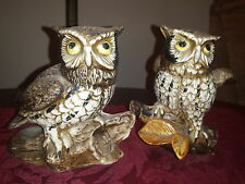 """Vintage Homco Porcelain Owls Pair 5"""" Figurines Hand Painted Excellent"""