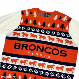 NFL Denver Broncos Orange & White Klew Men's Ugly Sweater Size XXL-New With Tags