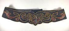 "Vintage La Regale Bead Belt Black Medium 32"" Wide Hand Made Bohemian Womens"