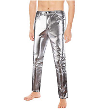 Men's Metallic Shiny Clubwear Pants Jeans for Christmas Halloween Party Trousers