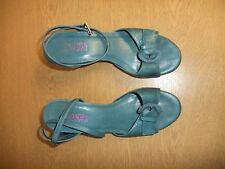 Ladies Shoes Jones teal leather wedge UK 5 EU 38, ankle strap sandal 3442