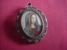 """8.1 Grams 1"""" Across 1 1/4"""" Long Hand Painted Mary Vintage 800 Silver Pendent-Pin"""