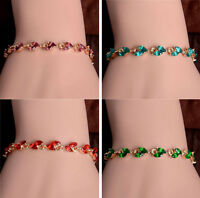 Fashion Women Gold Plated Leaf Bangle Crystal Elegant Chain Bracelet Jewelry