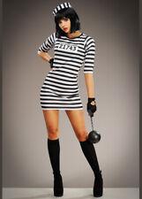 Womens Prisoner Striped Cute Convict Costume