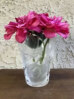 "GENUINE LALIQUE FRANCE CRYSTAL ROSE ""ISPAHAN"" FLORAL VASE SIGNED HEAVY PLS READ"
