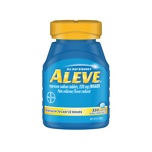 Aleve Naproxen Sodium 220 mg Pain Reliever/Fever Reducer 320 Caplets Aches Pains