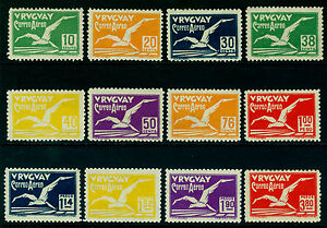 URUGUAY 1928  AIRMAIL - ALBATROSS - complete set  Scott # C14-C25 mint MH