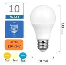 Lampadina luce led E27 10W AC 12V-24 V volt globo goccia bianca naturale calda