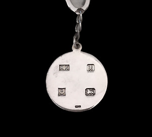 925 Sterling Silver Hallmarked Round Ingot Carabiner Keyring Keychain Fob