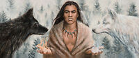 Wolf Painting Native American Indian artwork Stretched Canvas Giclee Print