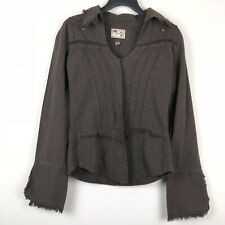 Scully Western Snap Button Down Shirt Top Brown Cross Fringe Women's Size Small