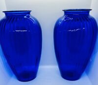 Set Of 2 VINTAGE COBALT BLUE SHOULDER VASE ANCHOR HOCKING OPTIC GLASS