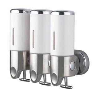 3 BOTTLES WALL MOUNTED SOAP SHAMPOO GEL DISPENSER PUMP BATHROOM SHOWER 1500ML