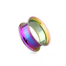 Tunnels 02.5mm/10 Gauge Body Jewelry Pair-Rainbow Titanium Ip Double Flare Ear