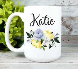 Personalized Mug For Women Floral Mug With Name Yellow Flower Coffee Mug