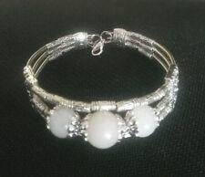 Women Bracelet White Jade Beads Bracelet Tibetan Silver Bracelet Clasp Bangle