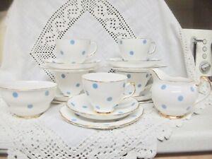 ROYAL VALE POLKA DOT VINTAGE  BONE CHINA AFTERNOON TEA CUP TRIO