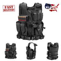 Tactical Adjustable Vest Military Police Swat Pistol Holster Combat Carrier NEW