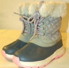 Carters Girls Winter Boots Small Kids Toddler Gray/Pink/White Size 10 US